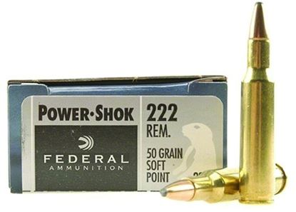 Picture of Federal 222A Power-Shok Rifle Ammo 222 REM, SP, 50 Grains, 3140 fps, 20, Boxed