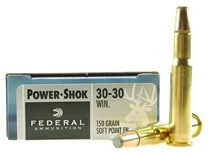 Picture of Federal 3030A Power-Shok Rifle Ammo 30-30 WIN, SP FN, 150 Grains, 2390 fps, 20, Boxed