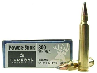 Picture of Federal 300WBS Power-Shok Rifle Ammo 300 WIN MAG, Speer Hot-Cor SP, 180 Grains, 2960 fps, 20, Boxed