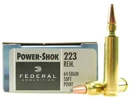 Picture of Federal 223L Power-Shok Rifle Ammo 223 REM, SP, 64 Grains, 3050 fps, 20, Boxed