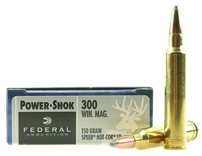 Picture of Federal 300WGS Power-Shok Rifle Ammo 300 WIN MAG, Speer Hot-Cor SP, 150 Grains, 3150 fps, 20, Boxed