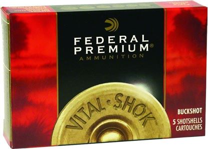Picture of Federal P154-00 Premium Vital-Shok Buckshot 12 GA, 2-3/4 in, 00B, 9 Pellets, 1325 fps, 5 Rounds, Boxed