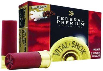 Picture of Federal PFC157-00 Premium Vital-Shok Buckshot 12 GA, 3 in, 00B, 12 Pellets, 1325 fps, 5 Rounds, Boxed