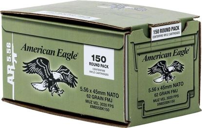 Picture of Federal XM855BK150 American Eagle Lake CIty AR Rifle Ammo 5.56 NATO, FMJ-BT, 62 Grains, M855, 3020 fps, 150 Ct Loose Pack