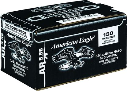 Picture of Federal XM193BK150 American Eagle Lake CIty AR Rifle Ammo 5.56 NATO 55Gr FMJ-BT, M193, 150Ct Loose Pack