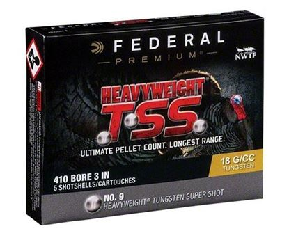 "Picture of Federal PTSS419F-9 Heavyweight TSS Turkey Shotshell 410 3"" 13/16oz 9 (No FLITECONTROL FLEX) 5 Rnd per Box"