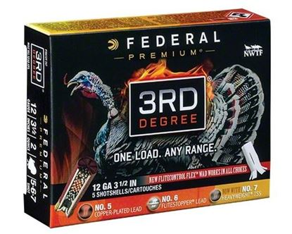"Picture of Federal PTDX139-567 3rd Degree Turkey Shotshell w/ Flight Control Flex Wad 12 GA 3 1/2"" 2oz 5, 6, 7 SHOT 1250 FPS 5 Rnd Per Box"