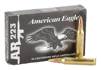 Picture of Federal AE223 American Eagle Rifle Ammo 223 REM, FMJBT, 55 Grains, 3240 fps, 20, Boxed