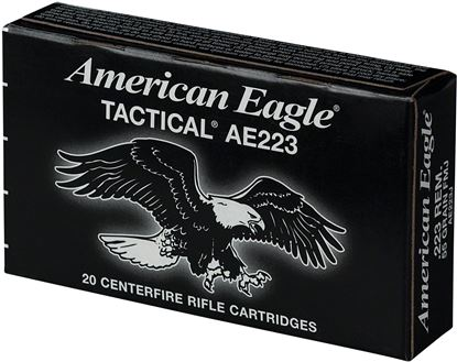 Picture of Federal AE223J American Eagle Lake City MSR Ammo 223 REM/5.56 NATO, FMJ-BT, 55 Grains, 3240 fps, 20 Ct Box W/O Divider