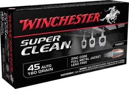 Picture of Winchester W45LF Super Clean Lead Free 45 Automatic 165gr. Zinc FMJ Super Clean NT -50 rounds per box