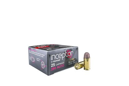 Picture of Inceptor Ammunition 380ARXBR-25 Inceptor ARX 380 Auto, 56Gr Preferred Defense, Brass Case, 25 Per Box