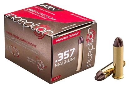 Picture of Inceptor Ammunition 357MAGARXBR-86-20 Inceptor ARX Ammo 357 MAG 86 GR Preferred Defense, Brass Case, 20 Per Box
