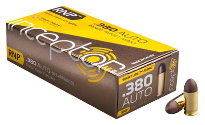 Picture of Inceptor Ammunition 380RNPBR-50 Inceptor RNP 380 Auto 60 Gr, 1250 fps, 226 ft lbs., Sport Utility Ammo, 50 Per Box