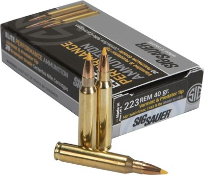 Picture of Sig Sauer E223V1-20 Elite Performance Rifle Ammo, Varmint & Predator, 223 REM, 40GR, BOX/20