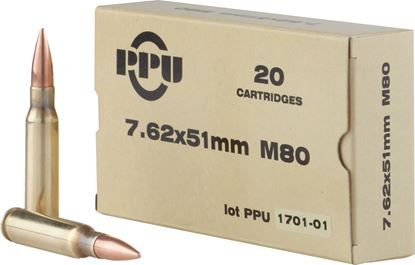 Picture of PPU PPN762 Rifle Ammo 7.62x51 FMJBT M80 145gr, 20 Rnds