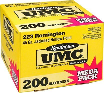 Picture of Remington L223R7A UMC Rifle Ammo 223 REM, JHP, 45 Grains, 3550 fps, 200, Boxed