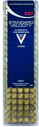 Picture of CCI 0032 Standard Velocity Rimfire Ammo 22 LR, LRN, 40 Grains, 1070 fps, 100 Rounds, Boxed