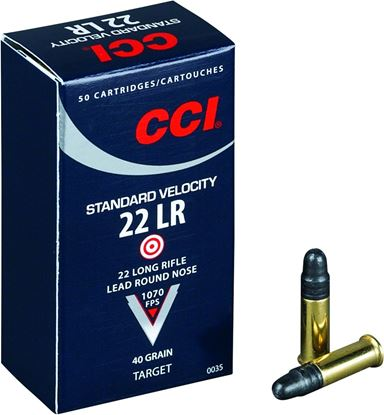 Picture of CCI 0035 Standard Velocity Rimfire Ammo 22 LR, LRN, 40 Grains, 1070 fps, 50 Rounds, Boxed