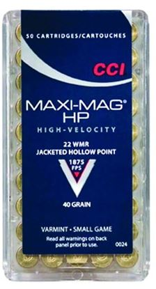 Picture of CCI 0024 Maxi Mag HP Rimfire Ammo 22 WIN MAG, JHP, 40 Grains, 1875 fps, 50 Rounds, Boxed