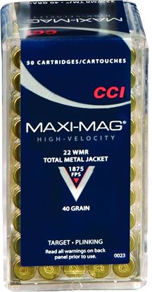 Picture of CCI 0023 Maxi Mag Rimfire Rifle Ammo 22 WIN MAG, TMJ, 40 Grains, 1875 fps, 50 Rounds, Boxed