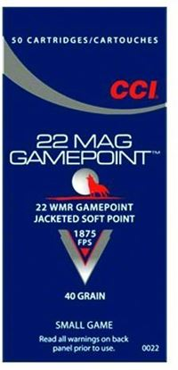 Picture of CCI 0022 Gamepoint Rimfire Rifle Ammo 22 WMR, JSP, 40 Grains, 1875 fps, 50 Rounds, Boxed