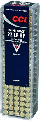 Picture of CCI 0031 Mini Mag HP Rimfire Ammo 22 LR, CPHP, 36 Grains, 1260 fps, 100 Rounds, Boxed