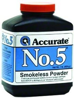 Picture of Accurate No 5 Double Base Smokeless Powder For Handguns, 1Lb, State Laws Apply