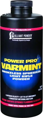 Picture of Alliant POWER PRO VARMINT Smokeless Spherical Light Rifle Powder 1 Lb State Laws Apply