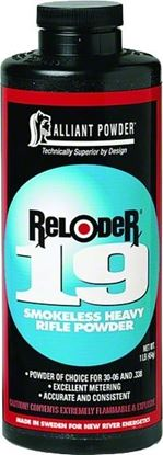 Picture of Alliant RELODER 19 Smokeless Heavy Rifle Powder 1 Lb State Laws Apply