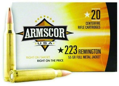 Picture of Armscor FAC223-IN Rifle Ammo 223 REM, FMJ, 55 Grains, 3139 fps, 20, Boxed
