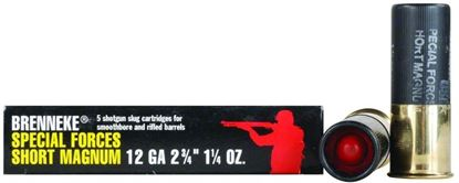 Picture of Brenneke SL-122SFM Special Forces Short Magnum Rifled Slugs 12 GA, 2-3/4 in, 1-1/4oz, 1476 fps, 5 Rnd per Box