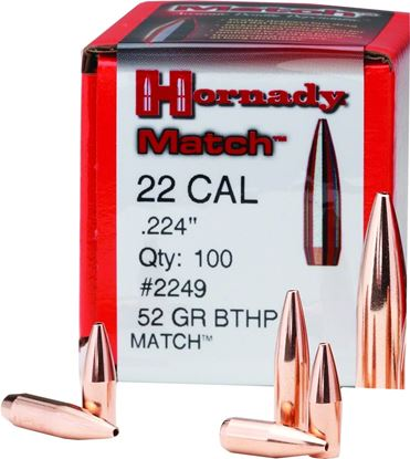 "Picture of Hornady 2249 Match Rifle Bullets 22 224"" 52Gr HPBT 100Rnd"