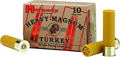 Picture of Hornady 86248 Heavy Magnum Turkey Shotshell 20 GA, 3 in, No. 5 Nickel, 1-3/8oz, 1200 fps, 10 Rnd per Box
