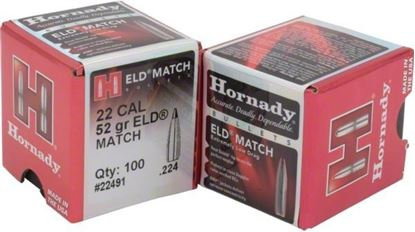 Picture of Hornady 22491 ELD Match Rifle Bullets, 22 CAL .224 52 Gr, 100 Box
