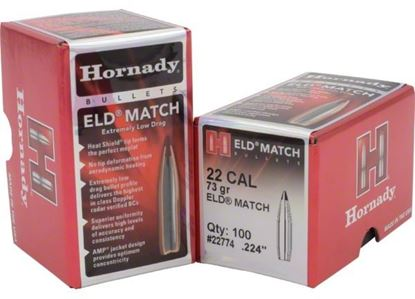 Picture of Hornady 22774 ELD Match Rifle Bullets, 22 CAL .224 73 Gr, 100 Box
