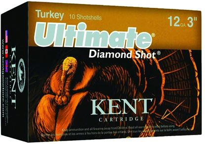 Picture of Kent C123TK56-4 Ultimate Diamond Shot Turkey Shotshell 12 GA, 3 in, No. 4, 2oz, Max Dr, 1175 fps, 10 Rnd per Box