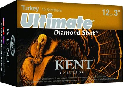 Picture of Kent C123TK56-5 Ultimate Diamond Shot Turkey Shotshell 12 GA, 3 in, No. 5, 2oz, Max Dr, 1175 fps, 10 Rnd per Box