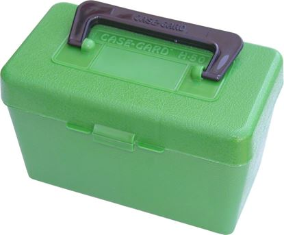 Picture of MTM H50-RM-10 Deluxe Ammo Box 50-Round, w/Handle, 22-250 243 308, Green