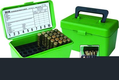 Picture of MTM H50-R-MAG-10 Deluxe Ammo Box 50-Round, w/Handle, 7mm Rem Mag 300 Win Mag, Green