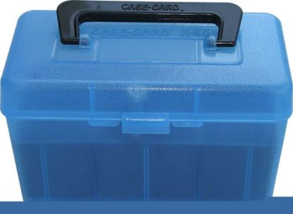 Picture of MTM H50-RM-24 Deluxe Ammo Box 50-Round, w/Handle, 22-250 243 308, Clear Blue