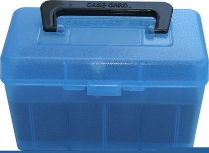 Picture of MTM H50-RL-24 Deluxe Ammo Box 50-Round, w/Handle, 25-06 30-06 270 Win, Clear Blue