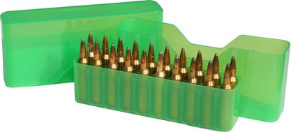 Picture of MTM J-20-L-16 Slip-Top Ammo Box 20 Round 30-06 30-30 270 Win 308, Clear-Green