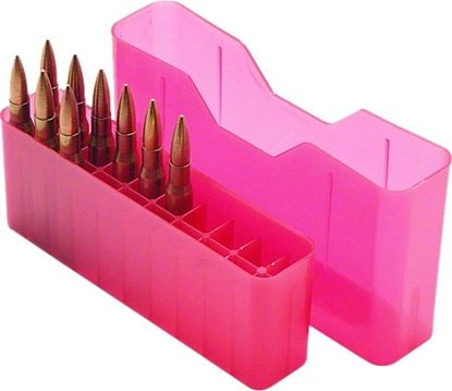 Picture of MTM J-20-L-29 Slip-Top Ammo Box 20 Round 30-06 30-30 270 Win 308, Clear-Red