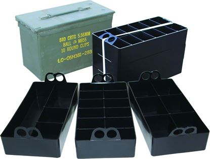 Picture of MTM ACO 50 Caliber Ammo Can Organizer, 3 Plastic Ammo Can Organizer Trays, Black