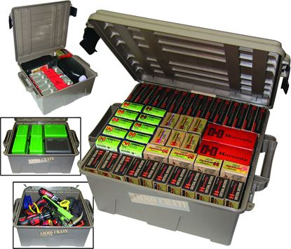 "Picture of MTM ACR8-72 Ammo Crate Utility Box, 19""L x 15.75""W x 8""H, Up to 85 Lbs, Side Handles, O-Ring Seal, Dark Earth"