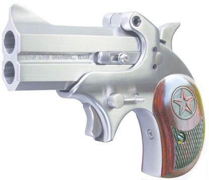 Picture of Bond Arms BACD 357/38 Cowboy Defender Break Pistol 357 MAG, 3 in, Wood Grp, 2 Rnd, Satin S/S Frame
