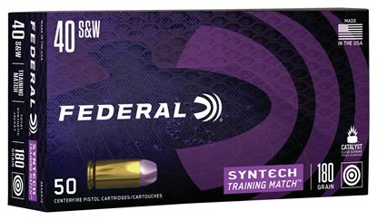 Picture of Federal AE40SJ2 American Eagle Syntech Training Match, 40 S&W, 180 Grain, Total Synthetic Jacket, Training Match, 50 Rounds Per Box