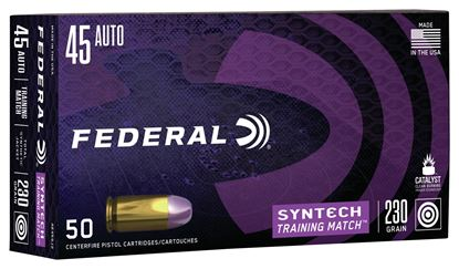 Picture of Federal AE45SJ2 American Eagle Syntech Training Match, 45 Auto, 230 Grain, Total Synthetic Jacket, Training Match, 50 Rounds Per Box
