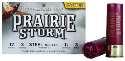 Picture of Federal PFS143FS3 Prairie Storm - FS Steel Shotshell 12 GA, 3 in, No. 3, 1-1/8oz, 4.79 Dr, 1600 fps, 25 Rnd per Box