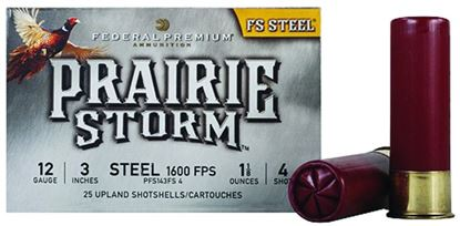 Picture of Federal PFS143FS4 Prairie Storm - FS Steel Shotshell 12 GA, 3 in, No. 4, 1-1/8oz, 4.79 Dr, 1600 fps, 25 Rnd per Box
